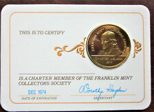 Gold plate on Sterling Silver Franklin MInt Membership Medal--Eight of Them