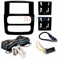 Radio Replacement Dash Kit 2-DIN & Amp Bypass Wire Harness/Antenna for Dodge RAM