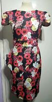 Bright Pink Multi Floral Bodycon Wiggle Scuba Dress Size 12 Misslook NWT