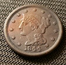 1844 Braided Hair Large Cent with AU Details