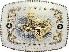Oversize BIG TEXAS State Flag Western Belt Buckle Silver Cowboy Rodeo Large