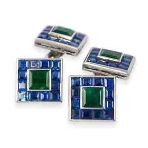 Charming Square Blue Sapphire & Green Square Emerald Stud Set Men's Cufflinks