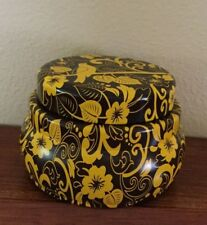 """PARTYLITE Gold & Brown Metal Lidded Candle- Trinket Box 2 3/4"""" Candle included"""