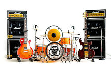 Led Zeppelin Miniature Guitars and Drum Set A with Timpani, Gong, Amps & Mic