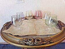 6 verres anciens à cognac -bohème-en couleur irisée-à pieds-vintage 1950