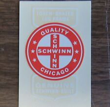 Schwinn Decal Sticker Quality Cross Chicago for Seat Tube on Vintage Bike 2.5 in