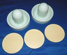 "Set of 2 Dynamo Air Hockey Table Goalie Mallets Paddles & 3 Beige 3 1/4"" Pucks"