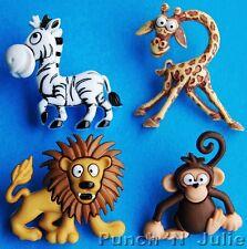 SILLY SAFARI - Zoo Animal Lion Giraffe  Zebra Monkey Dress It Up Craft Buttons