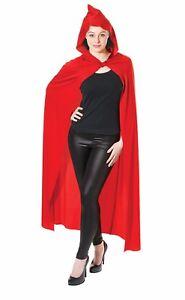 Deluxe Halloween Cape Red Hooded Long Cloak Long Vampire Ladies Mens Fancy Dress