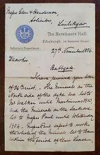 1886 The Company of Merchants of Edinburgh, Merchants Hall, Hanover St, Letter