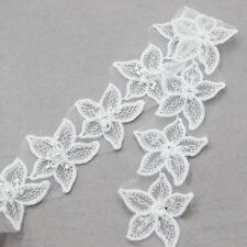 2 Yard Weiß 16 Blumen Perle Spitze Borte Aufnäher Spitzenborten DIY Handwerk