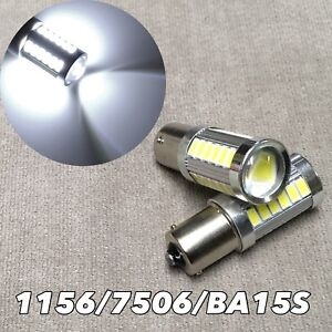 Backup Reverse 1156 BA15S 180° 7506 3497 P21W 33 SMD samsung LED White W1 GM A