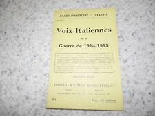 1915.Pages d'histoire 74.Voix italiennes.14-18.