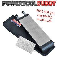 FAITHFULL Double Sided Diamond Whetstone Chisel/Blade Sharpening Stone & Card