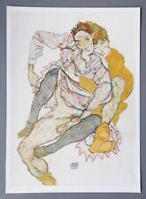 Egon Schiele Original Lichtdruck Collotype 36x50 Signed Menschenpaar 1915 Couple