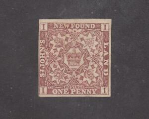 NEWFOUNDLAND # 1 MNG 1p BROWN VIOLET CAT VALUE $200