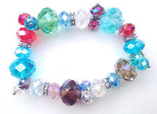 Multi colour Crystals & Clear Rondelle Spacer Elasticated Bracelet