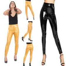 UK Women's Vinyl PVC Wet Look Shiny Disco Elasticated High Waist Leggings Pant