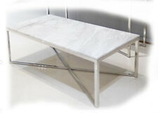 Gisela 1200x600 Stainless Steel & White Marble Coffee Table - BRAND NEW