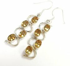 CITRINE GEMSTONE 925 STERLING SILVER EARRINGS OVAL CUT STAMPED 4.5 g