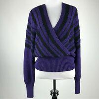 Suzelle Women Purple Black Chunky Heavy Knit Sweater sz M