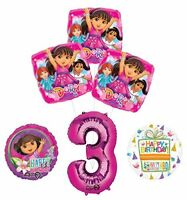 Dora the Explorer 3rd Birthday Party Supplies and Balloon Bouquet Decorations