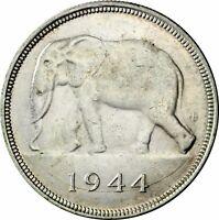 Silbermünze Elefant Belgien Kolonialzeit Belgisch-Kongo 50 Francs 1944 in Kapsel