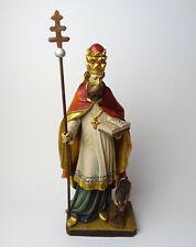 Religiöse Holzfigur Hl. Leonhard Schutzpatron, geschnitzt Ende 20.Jhd.