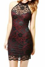 Elisa Sweetheart Halterneck Lace Dress Black & Red size 10 - 12