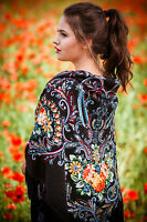 Large colourful Russian style Slavic folklore  shawl scarf autumn collection-3