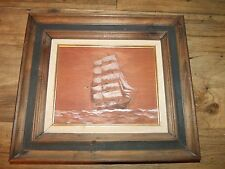 """1970 Forbes Wolfe """"A Bark""""  Ship Painting OIl on incised wood  *Worldwide*"""