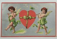 To My Valentine Cupids Carrying Large Heart c1914 Postcard N12