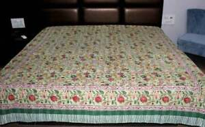 Floral Print Ethnic Gudari Handmade Bed Cover Bedspread Queen Throw Kantha Quilt