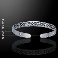 Celtic Knotwork .925 Sterling Silver Bangle Bracelet by Peter Stone