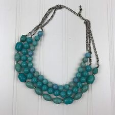 Statement Necklace For Women ~ Faux Turquoise Blue 3 Strand ~ Fashion Jewelry