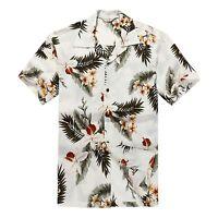 Men Aloha Shirt Cruise Tropical Luau Beach Hawaiian Hawaii Casual Cream Leaf
