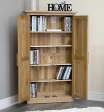 Arden solid oak furniture CD DVD storage cabinet cupboard rack unit bookcase