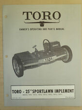 "Toro 25"" Sportlawn Owners, Operating And Parts Manual Implement Book #7609 - 1"