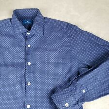 Toscano Mens S Luxury Dress Shirt Casual Geometric Pattern Button Blue