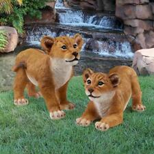 Set of 2: Big Cats Lion Cubs Exotic Wildlife Sculpture Yard and Garden Statue