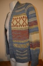 Alexander's Fair Isle Native American Hippie M Open Cardigan Sweater VTG 60s 70s