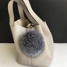 "5""  13cm Genuine Silver Fox Fur Pom Pom Ball Keyring Keychain Purse Bag Charm"