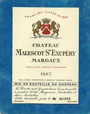 MARGAUX 3EME GCC VIEILLE ETIQUETTE CHATEAU MALESCOT ST EXUPERY 1967    §12/0/17§