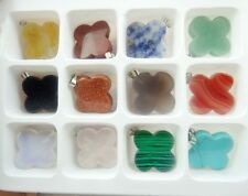 12pc Mixed Agate Healing Reiki Chakra Physical Four-leaf Clover Gem Loose Beads