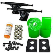 """LONGBOARD Skateboard TRUCKS COMBO set w/ 70mm Green WHEELS + 9.675"""" Black trucks"""
