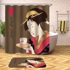 Geisha with cup of tea Shower Curtain waterproof Polyester 150(W)x180 cm Nip