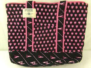 Vintage Victoria's Secret Pink Quilted Tote Bag Dog Logo University Megaphone