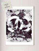Designer art print home decor floral logo black & white beauty fashion