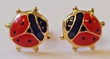 18ct Yellow Gold Red Enamel Ladybird Stud Earrings Kids Adults NEW Xmas Gift 18k