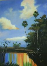 G.RUSSELL ART! HIGHWAYMEN STYLE,!ACRYLIC PAINTING!! THE EVERGLADES NAT PARK!!